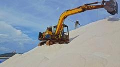 Excavator Stands on Salt Heap Pours Salt Upward with Scoop Stock Footage