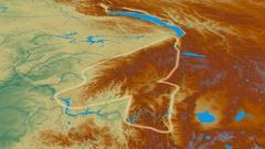 Revolution around Sayan mountain range - glowed. Relief map Stock Footage