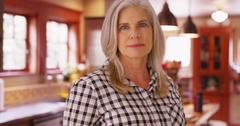 Portrait of a lovely mid aged woman looking somber Stock Footage