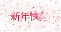 Happy New Year text in Chinese turns to dust from bottom on white animated Stock Footage