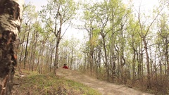 A mountain biker rides on a singletrack trail in the forest. Stock Footage