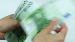 Counting many euro banknotes Stock Footage