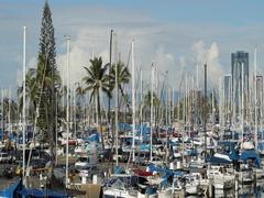 Honolulu downtown Ala Moana condos in Hawaii Stock Footage