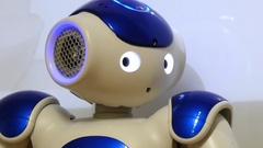 Robot humanoid looking Stock Footage