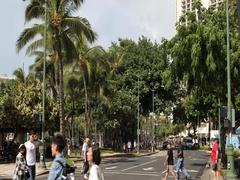 Kalakaua avenue in Waikiki Honolulu Hawaii Stock Footage