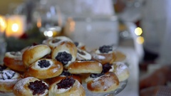 Freshly baked sweet buns Stock Footage