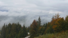 Flying over the treetops in the mountains. Mountain autumn landscape Stock Footage