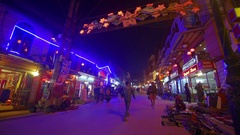 People walk in the evening Sa Pa, Vietnam Stock Footage