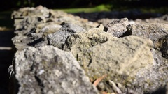 Historical ruins, stone wall and focus pulling Stock Footage