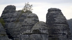 Rock formations at Bastei mountains, Saxon Switzerland, Germany Stock Footage