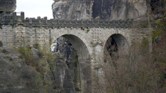 View of Bastei Bridge, rock formation mountain, close up, Germany Stock Footage