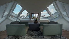 Interior of room in Cube House, Rotterdam Stock Footage