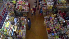People shopping at the Central City Market in Da Lat Stock Footage