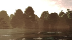 4K High Current River Flood Forest in the Sunset Cinematic 3D Animation 2 Stock Footage