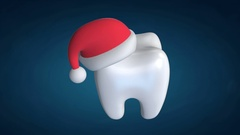 Tooth Wearing Santa Claus Hat Stock Footage