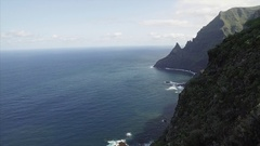 Scenic footage of dramatic and dangerous rocky cliffs jagged to ocean. Stock Footage