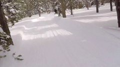 POV of a man snowmobiling in the mountains. Stock Footage