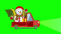 Delivery flat transport truck, van with snowman Arkistovideo