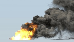 Huge fire and smoke with alpha mask Stock Footage