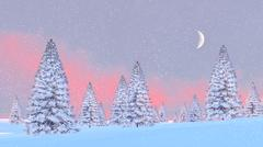 Snowy fir trees at snowfall sunrise Stock Illustration
