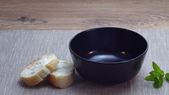 Serving in a bowl, stew of potatoes. Stock Footage