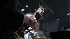 Man lead guitarist playing electrical guitar Stock Footage