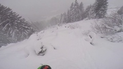 POV of a man skiing in the mountains in fresh powder snow, super slow motion. Stock Footage