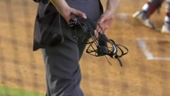 Detail of an umpire at a baseball game, slow motion. Stock Footage