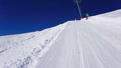 POV of a man skiing in the mountains in fresh powder snow, time-lapse. Stock Footage