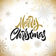 Merry Christmas calligraphic hand drawn lettering with snowflakes Piirros