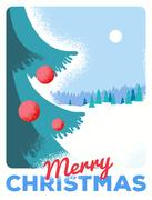 Christmas greeting card with fir, retro styled with scratched paper Stock Illustration