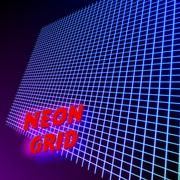 Bright neon grid lines glowing background with 80s style Stock Illustration