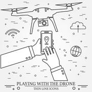 Playing with the drone, copter.  Remote Control with Mobile Phones, tablet .. Stock Illustration