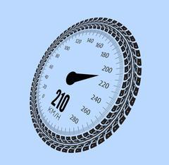 Speedometer vector illustration. Styling by tire tracks Stock Illustration