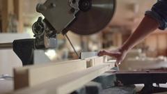 Circular Saw Cutting Through Wood Stock Footage
