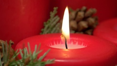 Flame on the Christmas candle Stock Footage
