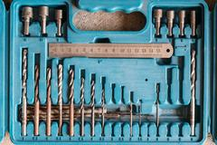 Drill bits / drill bit set in toolbox Stock Photos