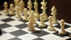 White knight captures black pawn Stock Footage