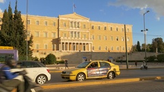 4K Traffic commuter tourists crossing zebra Panepistimiou ave. Athens Greece Stock Footage