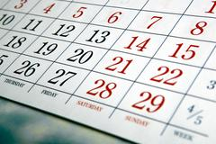 White calendar days with numbers Stock Photos