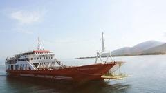 Ferryboat arriving to Greek island Stock Footage