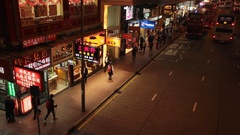Night scene from Hong Kong street Stock Footage