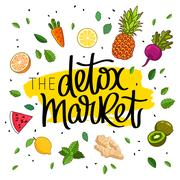 Detox market. The trend calligraphy Stock Illustration