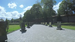 Pskov Alley of Heroes in Victory Square Stock Footage