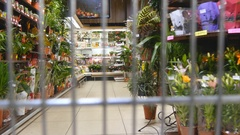 Supermarket cart riding throuth shop. Camera inside trolley Stock Footage