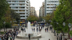 4K TL Traffic crowds commuter tourists crossing zebra Syntagma square Athens Stock Footage