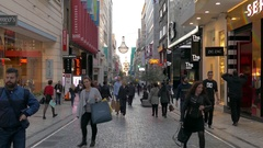4K crowds commuter tourists Ermou shopping street Athens Greece Europe Stock Footage