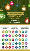 Christmas social media icons PSD Template