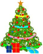 Vector illustration of decorated Christmas tree. Stock Illustration