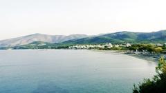 POV vlogger stile transmission from Greek island Stock Footage